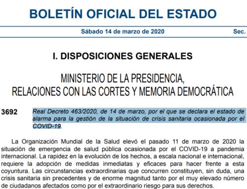 Resumen del Real Decreto 463/2020, de 14 de marzo, por el que se declara el estado de alarma para la gestión de la situación de crisis sanitaria ocasionada por el COVID-19